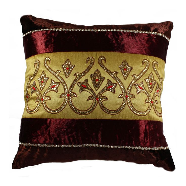 If you really want to fetch loads of compliments from your guests, then this cushion cover will definitely a good pick. The unique color combination of Dark Brown and Maroon Velvet with Mustard Color in the center with elegant Stone work is self sufficient to explain its beauty and charm. This will blend well with all interior types of your living room. FEATURES : 16 Inch * 16 Inch / 40.5 cm *  40.5 cm
