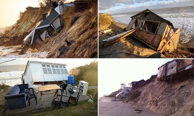 The village that fell into the sea: Families left devastated as their beach-side homes are destroyed after Britain's coastline is battered by the worst storm surge for SIXTY years