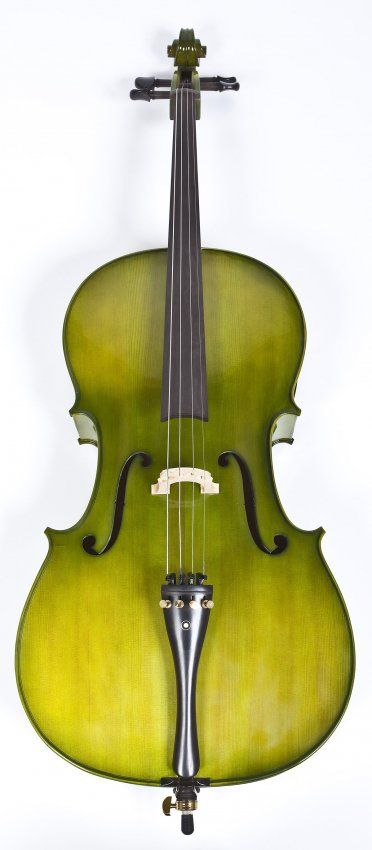 Green Stained Cello with Black Case. Not sure about this I love the colour but on a cello? Extremely torn