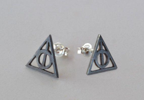 $23.00 Harry Potter Earrings Deathly Hallows Earrings Post Earring- Harry Potter Jewelry Sterling Silver. (oxidized silver.)