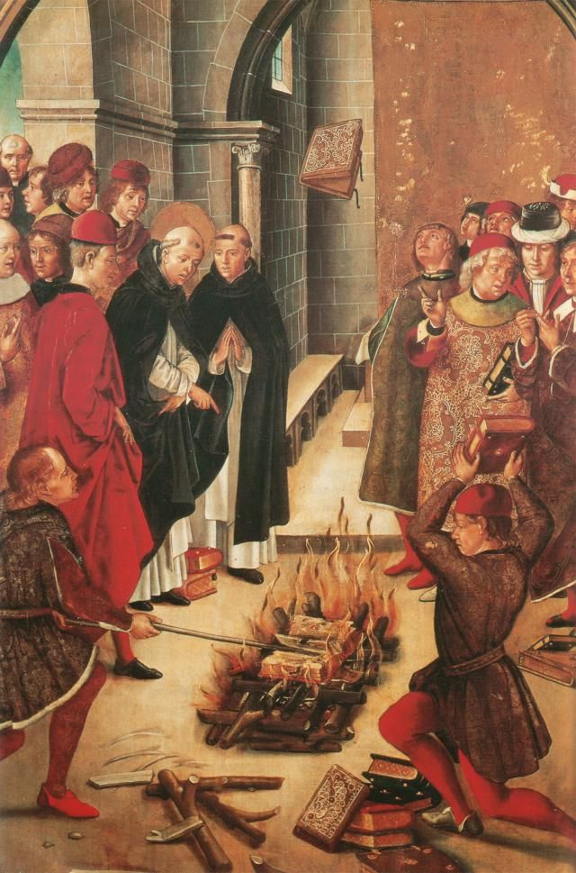 Albigenses & Cathari - Medieval Heretics: Depiction of the miracle of Fanjeaux, where both Catholic and Cathar books were burned, but the Catholic books were rejected by the fire. Painting by Pedro Berruguete,  c. 1400s.