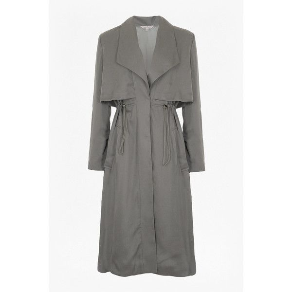 French Connection Kruger Tencel Oversized Trench Coat ($298) ❤ liked on Polyvore featuring outerwear, coats, toggle coat, oversized lapel coat, lightweight trench coat, lightweight coats and double breasted coat