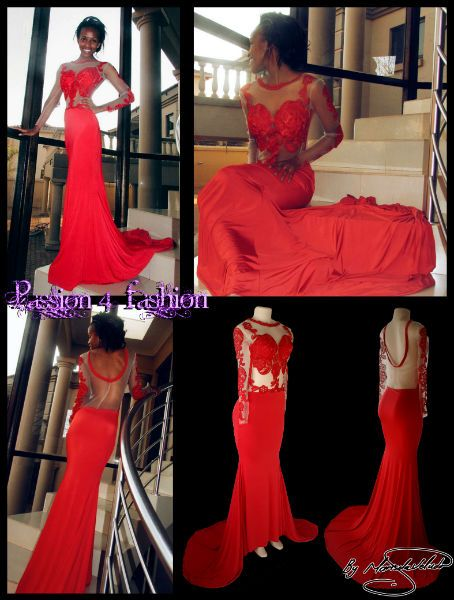 Bright red sheer lace soft mermaid matric dress. With sheers back and a rounded red finish. Bodice detailed with red lace, sheer sleeves embellished with red lace. Long train.