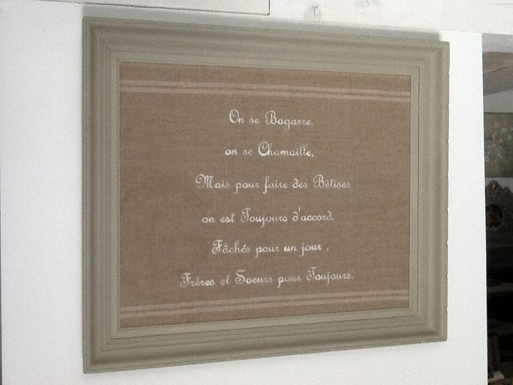"""PEINTURE SUR LIN ENCADRÉE """"frères et sœurs"""""""