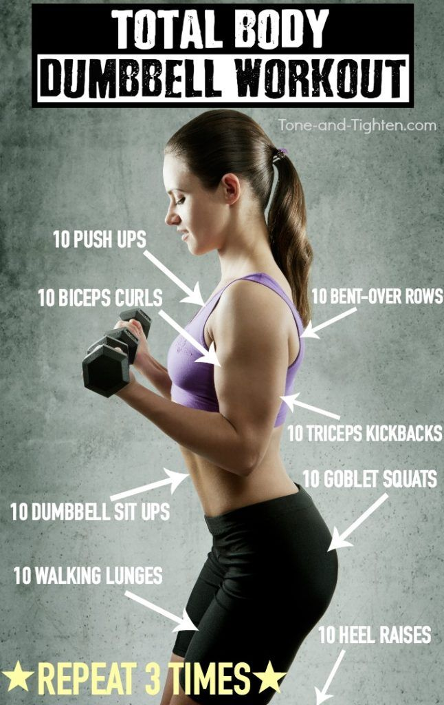 Total body workout with dumbbells! Pictures of each exercise at the linked page. From Tone-and-Tighten.com.
