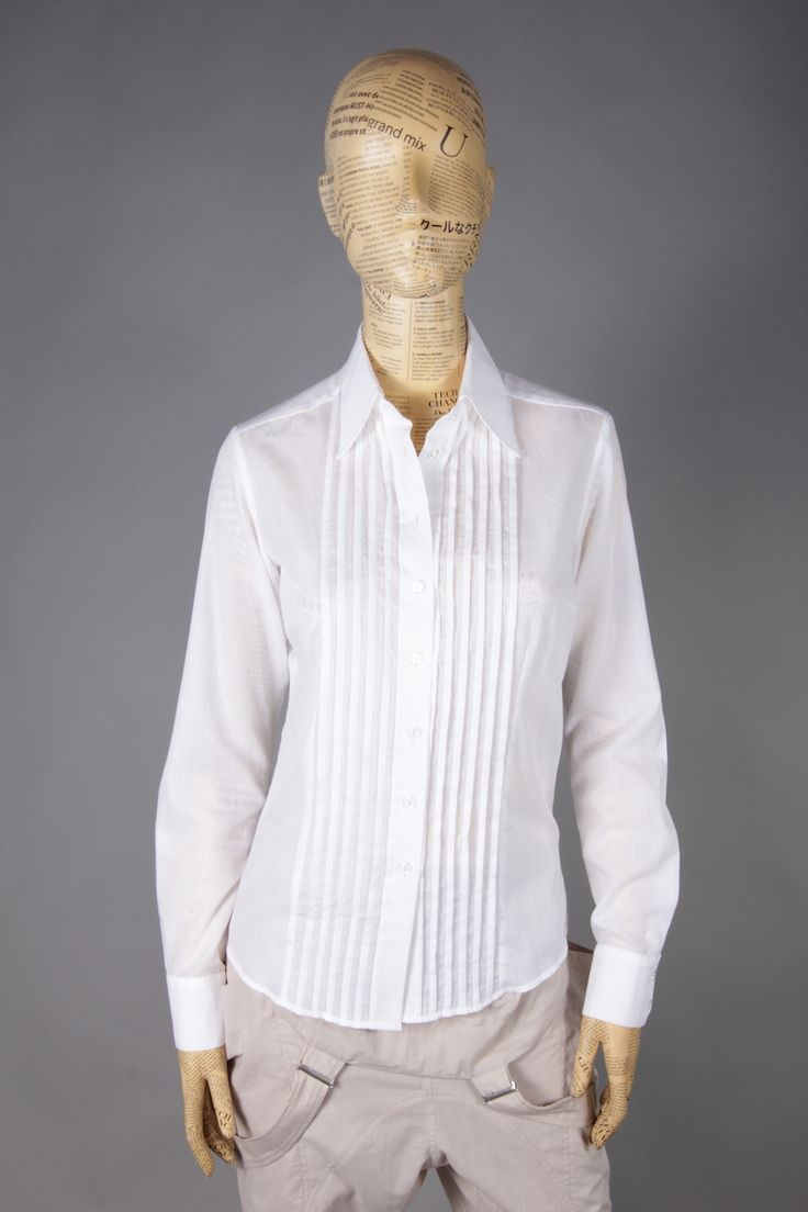 WHITE SHIRT WITH FRILLS ON CHEST [MBA39] - 47.60EURO : www.madebyartist.ro - shop, www.madebyartist.ro - shop