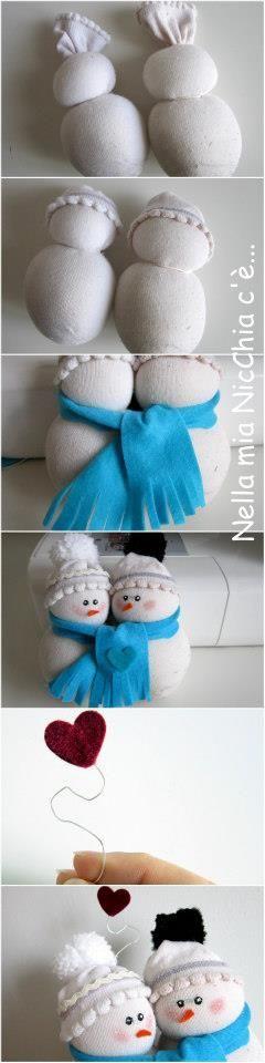 Muñecos de nieve amorosos