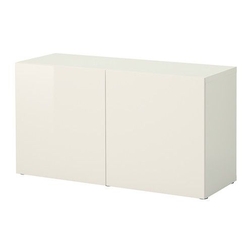 IKEA BESTÅ Shelf unit with doors White/selsviken high-gloss/white 120x40x64 cm A simple unit can be enough storage for a limited space or the foundation ...
