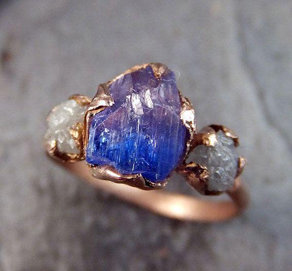 Raw Diamond Tanzanite Gemstone 14k Rose Gold Engagement Ring Wedding Ring One Of a Kind Gemstone Ring Bespoke Three stone Ring byAngeline      Raw