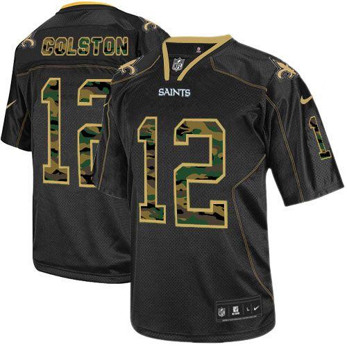 ... jerseys Mens Nike New Orleans Saints 12 Marques Colston Elite Black  Camo Fashion Jersey ... d65d26b87
