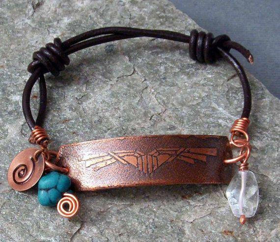 THUNDERBIRD Hand Etched Copper & Leather Bracelet Word Friendship Spirit Yoga Turquoise Leather Inspirational Motivational Gift Turquoise