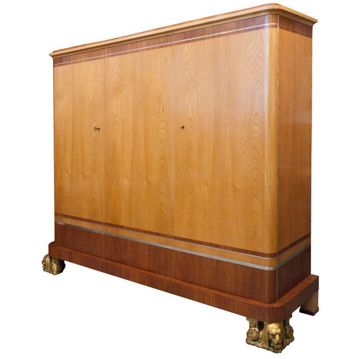 Fantastic Swedish Art Deco 3-door cabinet by Carl Bergsten | From a unique collection of antique and modern cabinets at https://www.1stdibs.com/furniture/storage-case-pieces/cabinets/