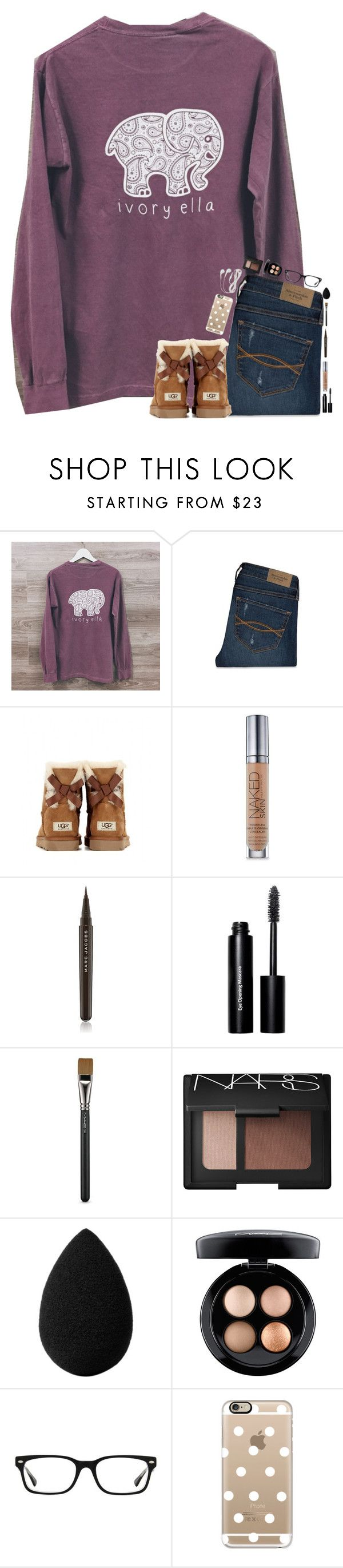 """""""~its really cold today~"""" by simply-natalee ❤ liked on Polyvore featuring Abercrombie & Fitch, UGG Australia, Urban Decay, Marc Jacobs, Bobbi Brown Cosmetics, MAC Cosmetics, NARS Cosmetics, beautyblender, Ray-Ban and Casetify"""