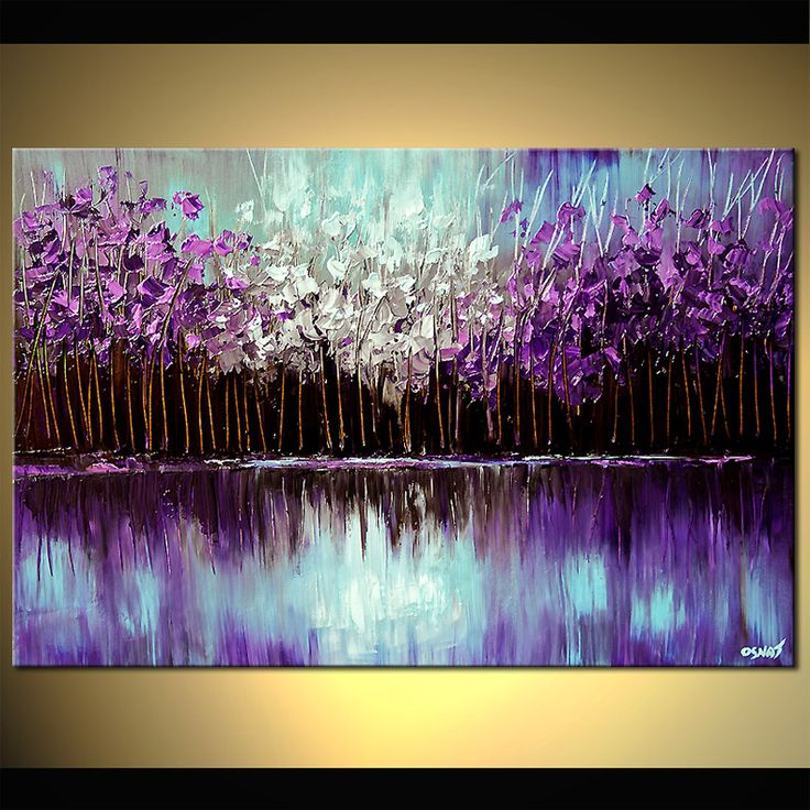 Original abstract art paintings by Osnat - purple forest reflected in the lake
