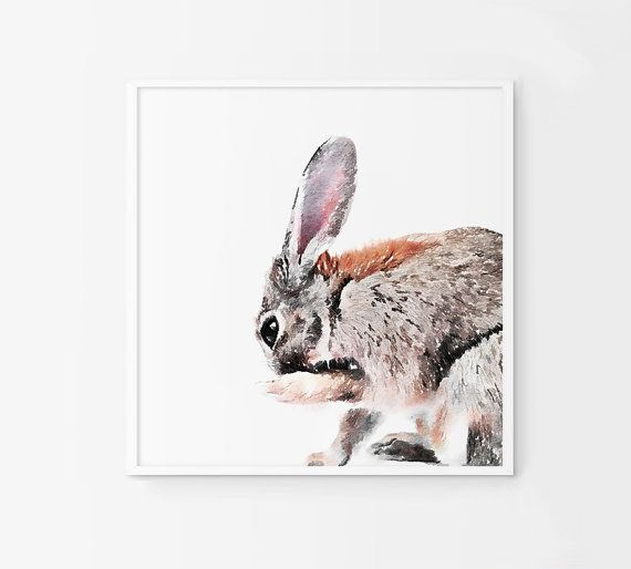 Rabbit printable artwork. Bunny poster. Printable by Byoliart