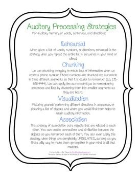 These helpful strategies can be used to facilitate auditory memory of word lists, sentences, or directions at any age! Teaching these strategies to children as young as 7 can help improve their ability to recall auditory information, especially for those with diagnosed Central Auditory Processing Disorders.