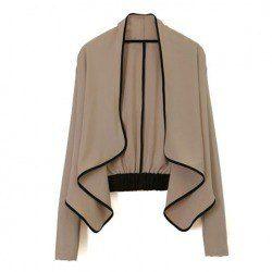 $7.54 Stylish Flounce Hem Black Edge Long Sleeves Apricot Chiffon Jacket For Women