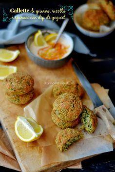"""Dafne's Corner """" il Gusto"""": Gallette di quinoa, ricotta e spinaci con dip di y..."""