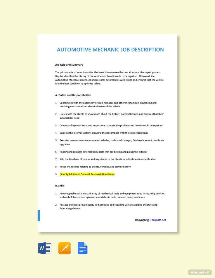 Free automotive mechanic job description template in 2020
