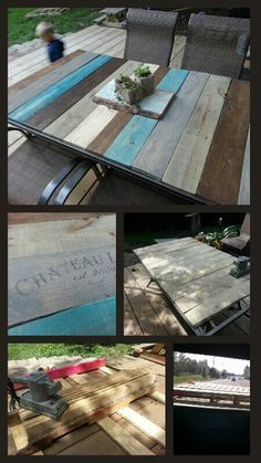 Pallet table top DIY -patio table frame with pallet boards - and freezer paper ink transfer. love these colors