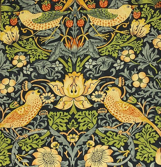 Strawberry Thief Cotton Fabric A classic William Morris floral and bird design in indigo with lighter blues, beiges and greens.