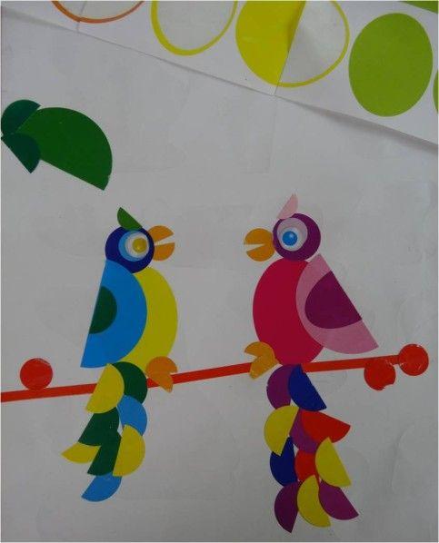 perroquets en gommettes