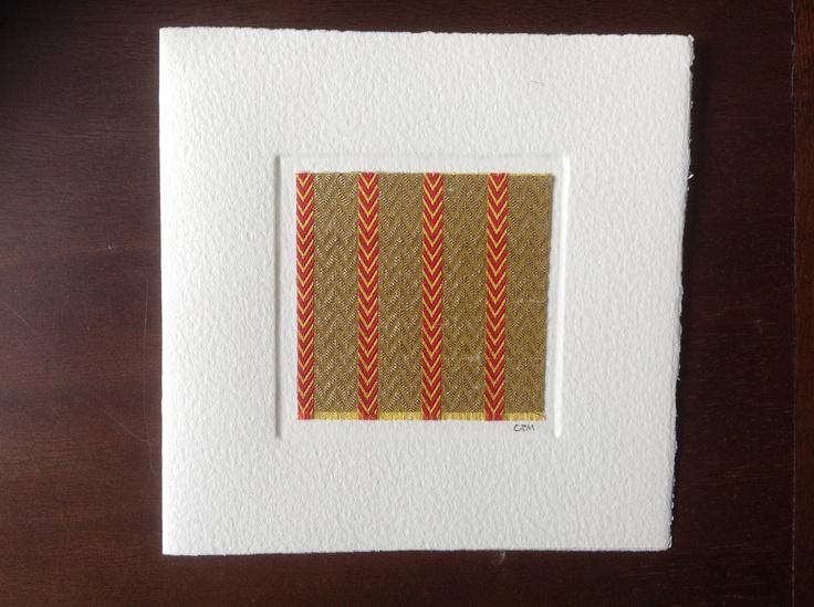 MISU card design   gold red stripe silk