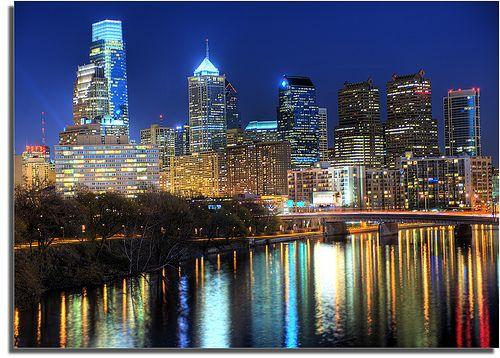 Philadelphia Skyline at night with Schuylkill River