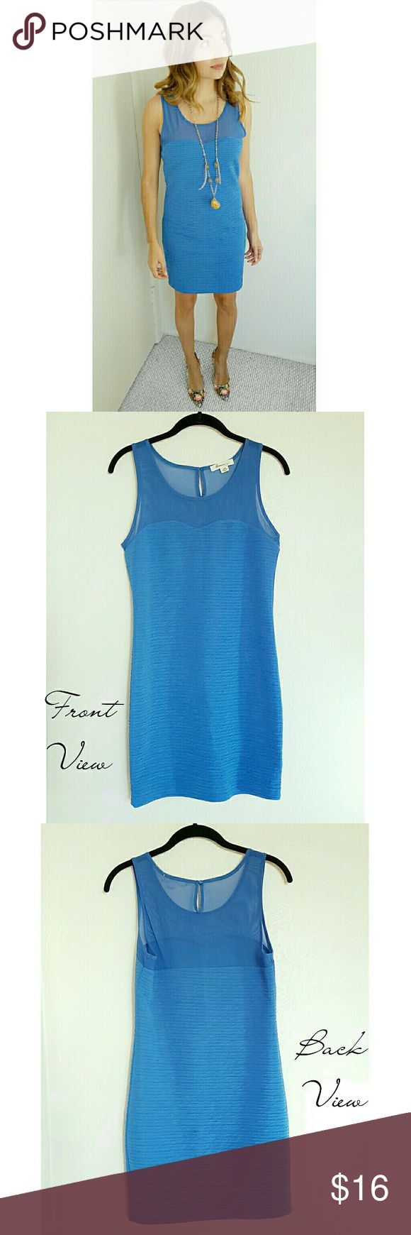 FOREVER 21 | Blue Bodycon Dress ~ Elegant cornflower blue dress ~ Sheer across shoulders ~ Worn twice - to bridal showers ~ In excellent condition ~ Tag says Medium. It would fit tight on a size Medium. I'm a size Small and it's fitted (photo #1)  ~ Dress it?with stilettos and statement jewelry  ~ Dress it?for work with chic flats and a blazer  ~ Reasonable offers accepted!  ~ Custom bundle discounts available. Just ask!! ?? Forever 21 Dresses Mini