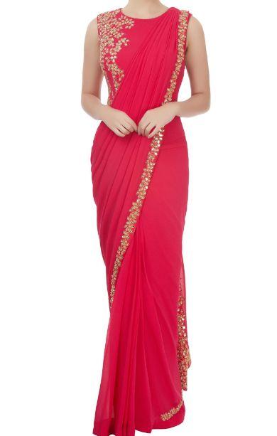 235cf0a3b64 Red Embellished Saree  DrapedSaree  Oneminutesaree  Drapedsareeonline   dress  onlineindiandress  sale nikvik  freeshipping  usa  australia   canada ...