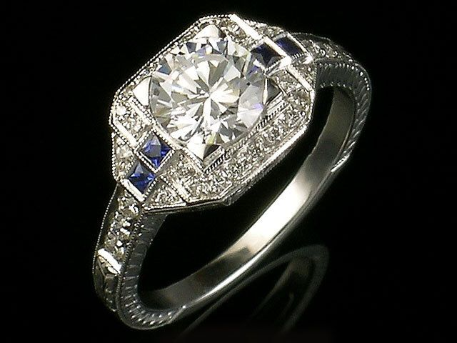 Antique inspired Edwardian style 18k white gold and diamond and blue sapphire engraved semi mount engagement ring,setting only,for 6.5 mm by shopevintage on Etsy https://www.etsy.com/listing/230913054/antique-inspired-edwardian-style-18k