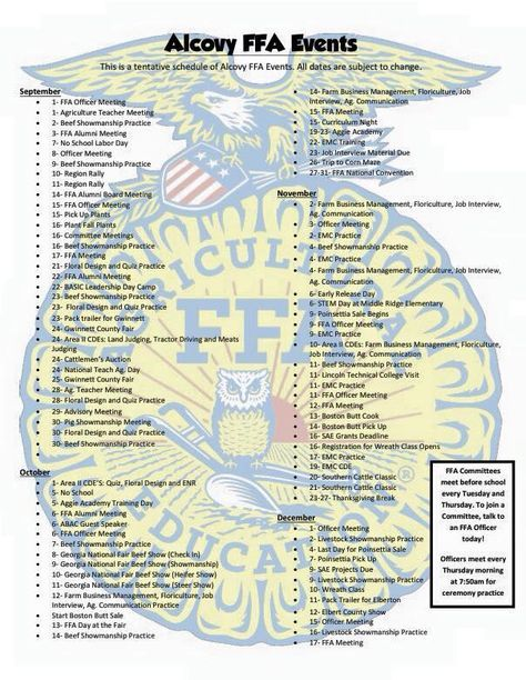 Fantastic way for all members to see what is happening during the semester and it looks nice too. Alcovy FFA - www.OneLessThing.net