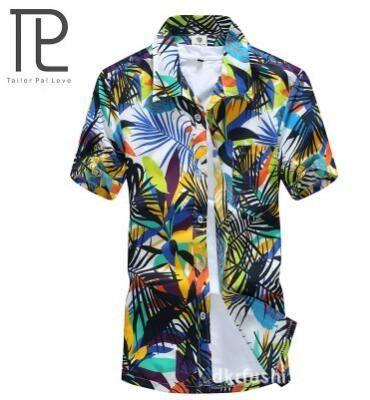 29cb7d307a Plus Size 3XL 4XL 5XL Men Shirt 2017 New Summer Fashion Short Sleeve Casual  Print Shirts Slim Fit Beach Mens Brand Clothing M L | Shirts | Pinterest ...