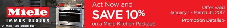 Save 10% on a Miele kitchen package. Offer valid through March 31, 2017. See offer details: http://www.bobmillers.com/promotions/promos