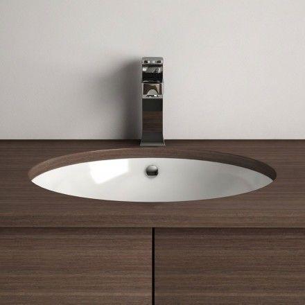 Vasque à encastrer par dessous ronde 43 cm céramique, Asako