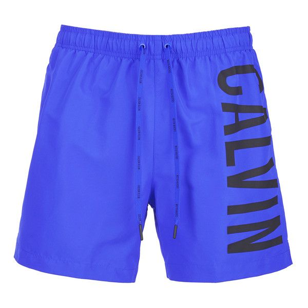 Calvin Klein Men's CK OneLogo Intense Power Swim Shorts - Royal Blue (4650 RSD) ❤ liked on Polyvore featuring men's fashion, men's clothing, men's swimwear, blue, men's apparel, mens swim trunks, mens swimwear, mens swimshorts and mens clothing