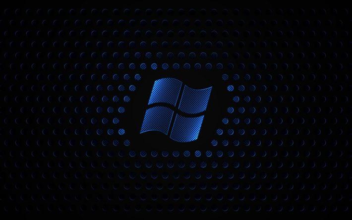 Download wallpapers Windows, 4k, metal grid, dark background, logo, Microsoft