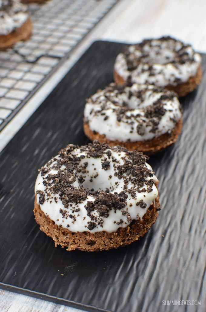 Delicious baked Low Syn Oreo Chocolate Doughnuts - only 4 syns each. That's got to be a good enough reason to bake this right now!!