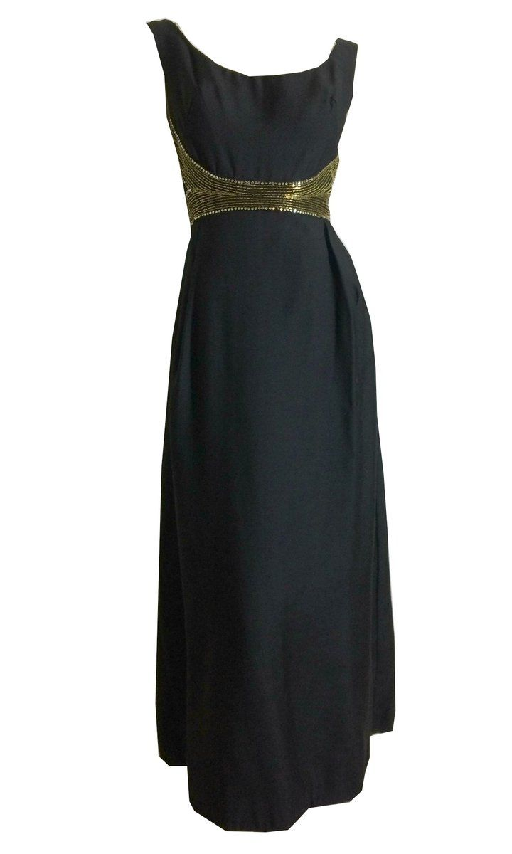 Chic Black Sleeveless Evening Gown With Gold Bugle Bead Detail Circa 1960s Black Dress Outfits Little Black Dress Outfit Evening Gowns