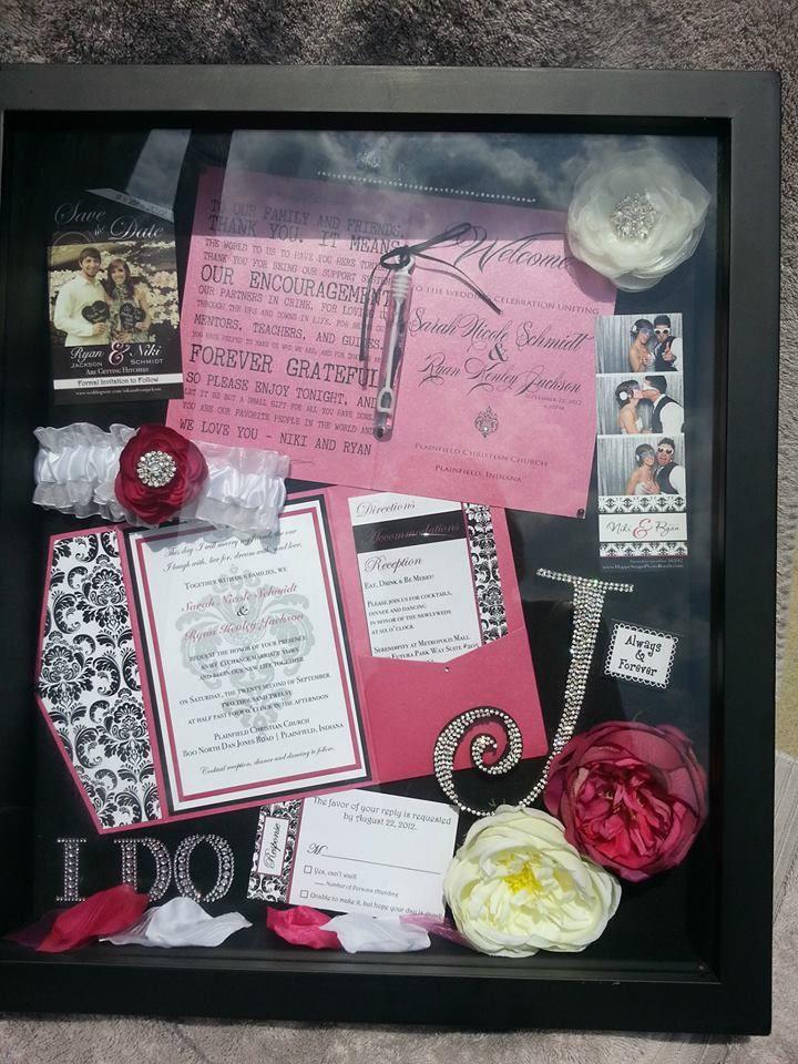 My pink & black bling wedding memorabilia shadow box <3