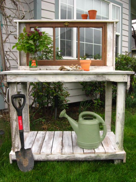 chic potting bench with vintage window shabby chic with vintage window
