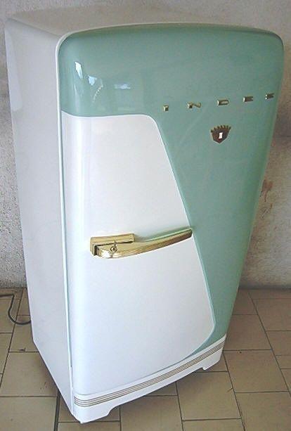 Tumblr Mid Century turquoise and white refrigerator