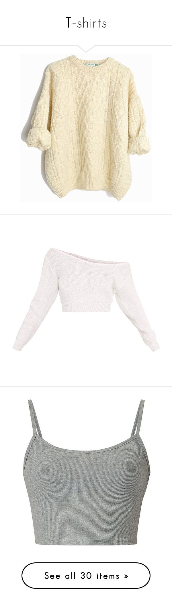 """T-shirts"" by styles-of-outfits ❤ liked on Polyvore featuring tops, sweaters, aran sweater, wool sweaters, beige cable knit sweater, wool cable knit sweater, aran wool sweaters, crop tops, shirts and crop"