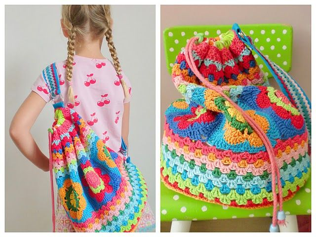 Crochet: Little Girls, Gehaakt Gymta, Crochet Bags, Kids Bags, Gym Bags, Granny Squares, Free Patterns, Drawstring Bags, Crochet Girls