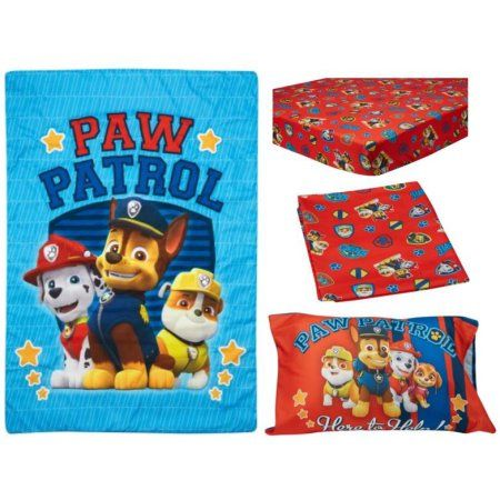 BabyBoom Nick Jr PAW Patrol Here to Help 4-Piece Toddler Bedding Set, Multicolor