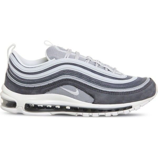 NIKE Air Max 97 leather and mesh trainers ($185) ❤ liked on Polyvore featuring men's fashion, men's shoes, men's sneakers, mens leather shoes, mens lace up shoes, nike mens shoes, nike mens sneakers and mens mesh shoes