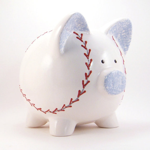 Personalized Piggy Bank  Baseball  with hole or NO by ThePigPen, $42.50