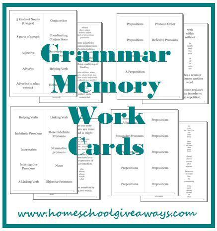 Grammar Memory Work Cards by sproutingtadpoles.com
