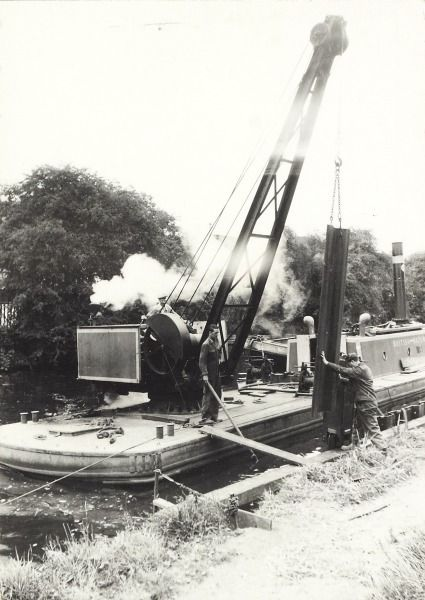 """Caption: """"Piling work at Norwood on the Grand Union Canal"""""""