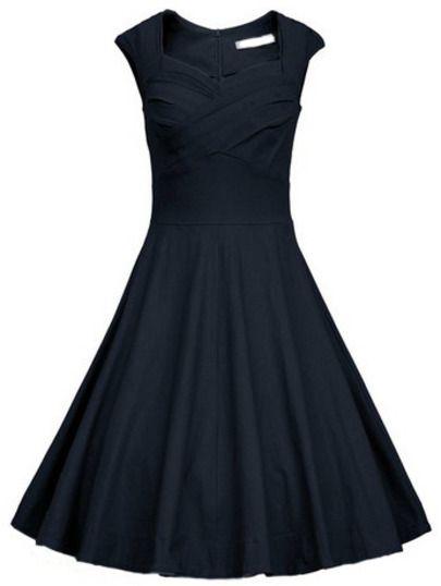 Navy Heart Shape Collar Sleeveless Flare Dress